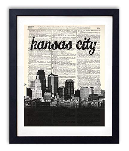 Kansas City Skyline With Name Vertical Dictionary Art Print 8x10