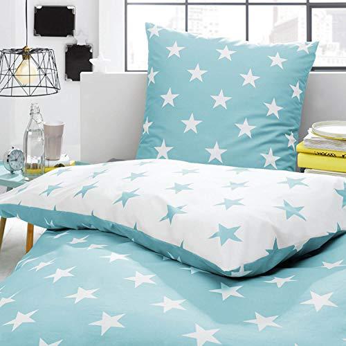 Trend Bettwäsche Sterne Türkis Weiß Stars Wendeoptik Perkal Größe: 135 cm x 200 cm