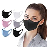 6 PC Reusable Washable Face Covering Unisex for Motorcycle Bicycle Running Cycling and Outdoor Activities - Black,Grey,White,Pink,Blue