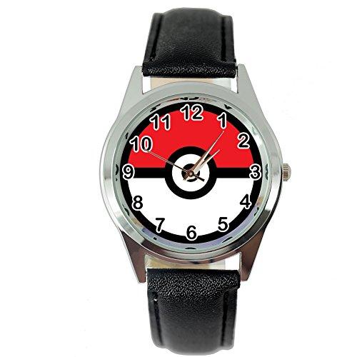 TAPORT® Unisex Uhr Analog Quarzwerk mit Leder Pokemon Schwarz Rund