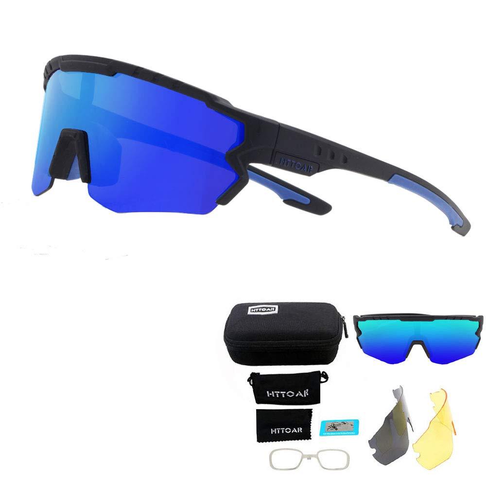 Gafas de Sol Deportivas/Gafas De Sol Polarizadas para Ciclismo ,con 3 Set De Lentes Intercambiables para Hombre Mujer (Negro y azul): Amazon.es: Deportes y aire libre