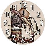 Western Cowboy Boots Hat Gun Wall Clock Silent Non-Ticking Round Wall Clock Custom Clock for Home Office School Decor, Decorative Clock Art