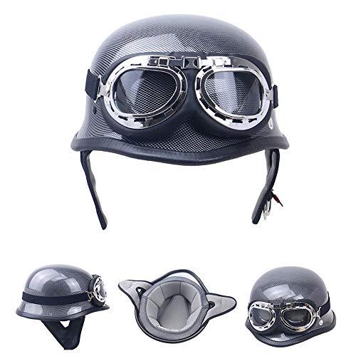 NSZHDY Moto HELME-Kohlefaser Wehrmacht Stahl Halbschale Motorrad Vespa Roller Jet Bobber Helm Pilot Cruiser Vintage Moped Chopper Helm Biker Retro, inkl. Schutzbrille,L