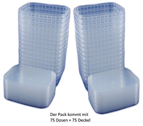 75x Universal Kunststoff Dose mit Deckel Industriestandard Rechteckig 280ml