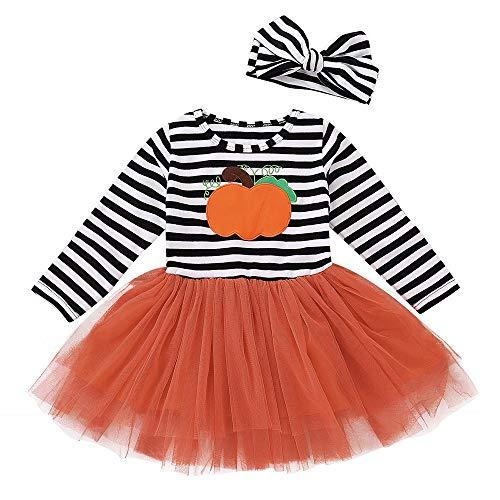 Battnot Halloween Kostüm für Mädchen Säuglings Kleinkinder Baby Cosplay Gestreift Kürbis Druck Kleid+Stirnbänder 2-teiliges Outfits Set Halloween Ausstattungen Party Kleidung 18 24 Monate 3 4 5 Jahre