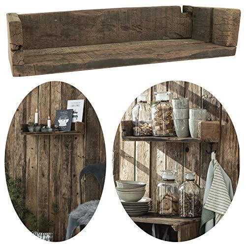 LS-LebenStil Holz Wand-Regal Ziegelform Braun 45cm Wandboard Box Küchen-Regal