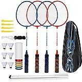 Set badminton, trounistro 4 giocatori racchetta da badminton con 6 volani, volano con rete e borsa per il trasporto Set completo di volani per adulti, principianti, bambini
