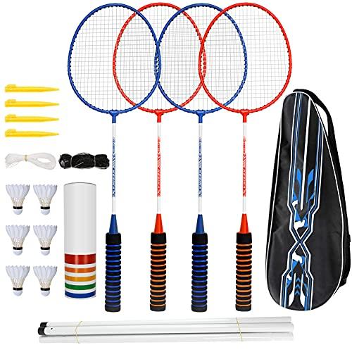 trounistro Badmintonschläger Set, 4 Spieler Badmintonschläger mit 6 Federbällen, Federball Set Komplettes Federballschläger mit Netz und Tragetasche für Erwachsene, Anfänger, Kinder