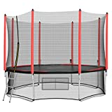 AOKCOS Outdoor Trampoline with Safety Enclosure - 12Ft Backyard Trampolines with Ladder Enclosed Trampoline for Kids, Teen, Adult, Red RT366001PR