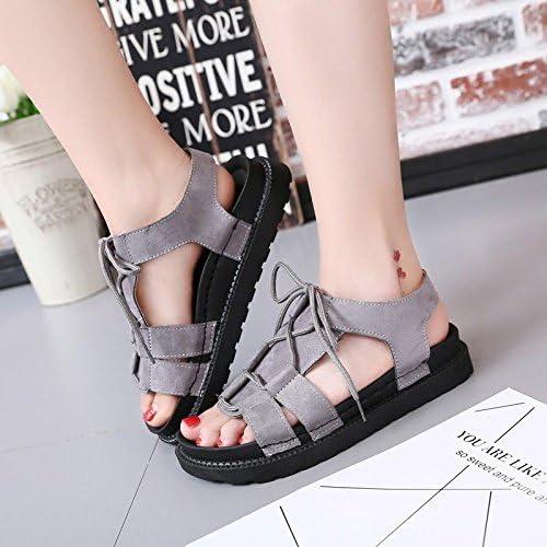 GTVERNH-La Plage D'épaisseur à Fond Plat Chaussures Sandales Fille Sauvage Romain Le Nouveau Fond Plat Chaussures Femmes D'été pour étudiants Tide