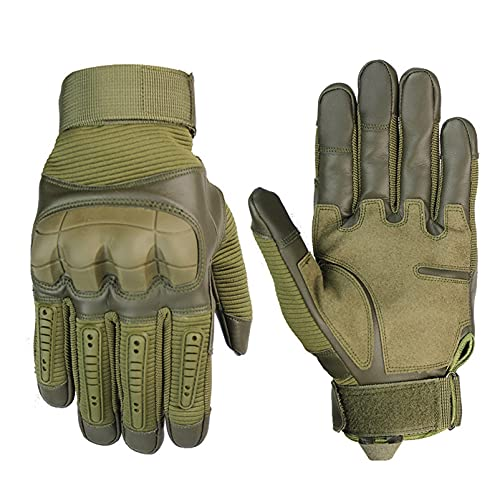 SRQLC Taktische Handschuhe Vollfinger-Sport-Touchscreen-Handschuhe Outdoor-Bergsteigen rutschfeste Fahrrad-Motorradhandschuhe für Männer und Frauen,Grün,M