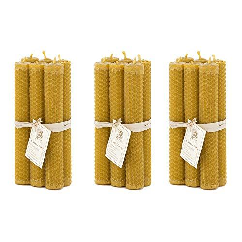 L'abella Mel – Pack de 18 velas naturales de cera de abeja de 15cm – Cada paquete incluye 6 velas naturales hechas a mano