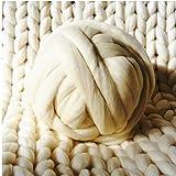 HomeModa Studio Non-Mulesed Chunky Wool Yarn Big Chunky Yarn Massive Yarn Extreme Arm Knitting Giant Chunky Knit Blankets Throws Grey White (250g, Ivory)