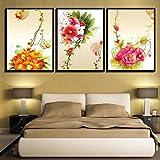 Rudxa Coloridas Flores Pintura Lienzo Impresiones Cartel Arte Pared Imagen para Sala hogar decoración-40x60cmx3 sin Marco