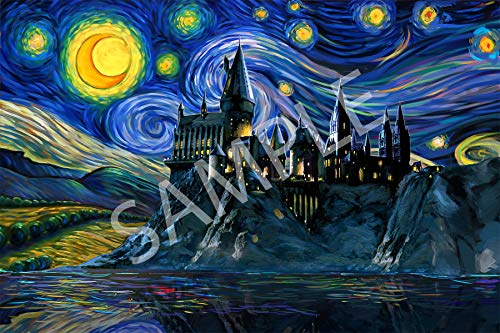 Best Print Store - Harry Potter Inspired - Starry Night Hogwarts Poster (24x36 inches)