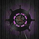 WYLYSD LED Reloj de Pared Grande Reloj de Pared de Arte Creativo Ancla Barco Naval Brújula Marineros Grabados Reloj de Pared Reloj
