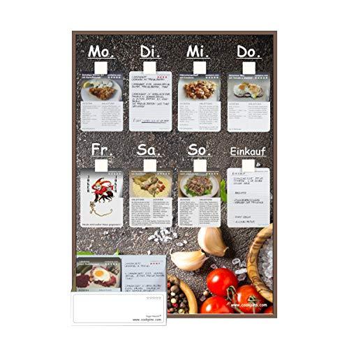 Rogge´s RelaxGrill CookPins D2 Essensplaner mit 105 Rezeptkarten, wandhängend, Speiseplan, Menütafel, Essensplan, Rezeptkarten, Kochrezepte, Rezepttafel, Kochtafel, Kochbuch, Dekoration Küche