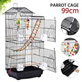 Yaheetech 99CM Roof Top Large Metal Bird Cage Parrot Cockatiel Conure Parakeet Budgie Lovebird Finch Pet Bird Cage w/Ladder Hanging Toys