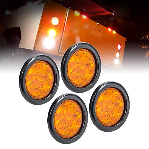 """4pc 4"""" Round Amber LED Trailer Tail Lights [DOT certified] [Grommet & Plug Included ] [IP67 Waterproof] Park Turn Trailer Lights for RV Trucks"""