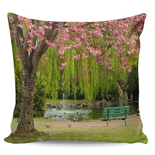 Federa copricuscino 45,7 x 45,7 cm, motivo romantico albero di ciliegio, panchina, parco, paesaggio, decorazione per la casa