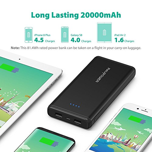 Portable Charger RAVPower 20000mAh USB External Battery Pack Dual iSmart 2.0 USB Ports, 3.4A Max Output, 2A Input Power Bank iPhone, iPad, Galaxy Android Devices