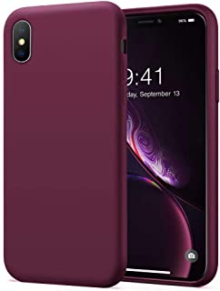 KUMEEK iPhone Xs Max Case, Soft Silicone Gel Rubber Bumper Case Anti-Scratch Microfiber Lining Hard Shell Shockproof Full-Body Protective Case Cover for iPhone Xs Max-WineRed