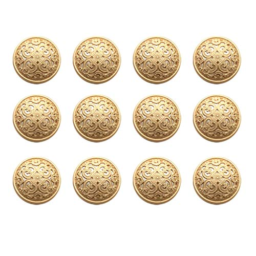 HEALLILY 30pcs Vintage Antique Metal Blazer Buttons with Shank Coats Buttons Jacket Buttons Shirt Suit Trousers Buttons Round Sewing Buttons for DIY Craft 20mm (Golden)