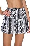 Becca by Rebecca Virtue Women's Smocked Crochet Skirt Swim Cover Up Black S