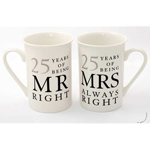 Amore 25th Anniversary Set of 2 China Mugs 'Mr Right & Mrs Always Right'