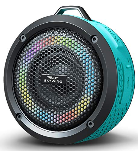 SKYWING Soundace S6 - Small Portable Speaker IPX7 Waterproof Shower Bluetooth Speaker with LED Lights 15H Playtime Perfect Mini Wireless Outdoor Speaker for Pool Beach Travel Camping Hiking BBQ Gift