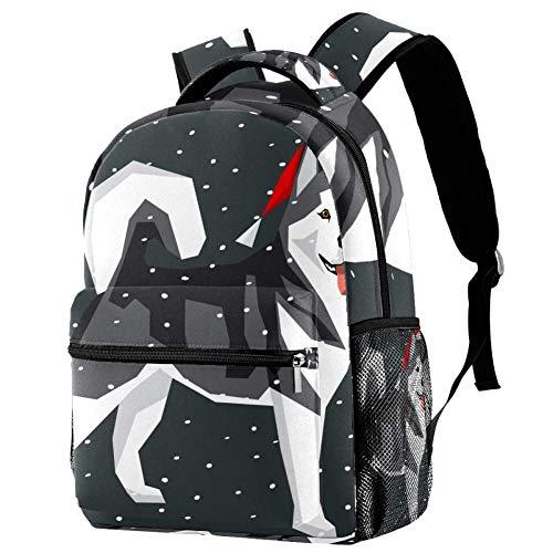 LORVIES Alaskan Malamute en Navidad, gorro de Papá Noel, mochila de hombro, mochila de hombro, bolsa para la escuela, estudiantes y viajes