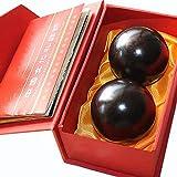 Kunze Masaje Pelota Baoding Balls, Madera Maciza China Ejercicio Saludable Masaje Bolas De Metal Meditación De Salud Juego para Aliviar El Estrés Bolas De Relajación Terapia Empuñaduras (2 Piezas)