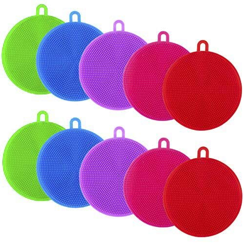 Apipi 10pcs Silicone Dish Sponges- Silicone Dish Scrubber for Dishes Fruit Vegetable Cleaning Dish Washing Durable and Dry Fast (Random Color)