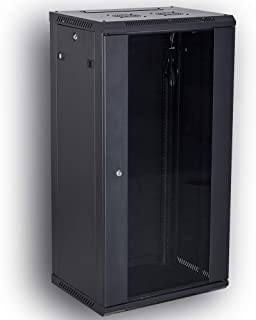 KENUCO Professional Wall Mount Network Server Cabinet Enclosure 19-Inch Server Network Rack Black | RACK-450MM | (FLAT-27U)