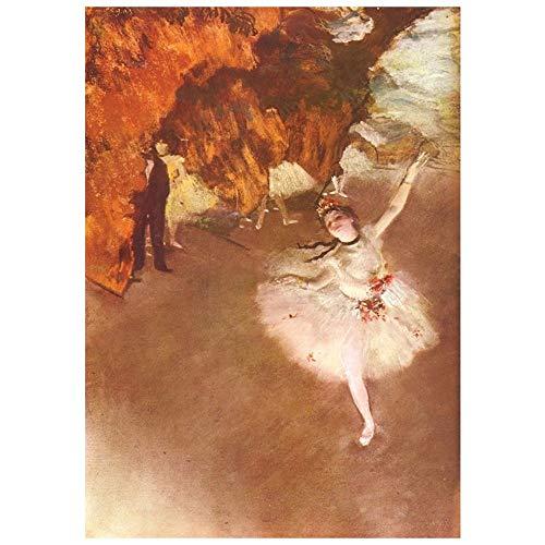LegendArte Stampa su Tela - Ballerina - La Star - Edgar Degas cm. 60x85 - Quadro su Tela, Decorazione Parete