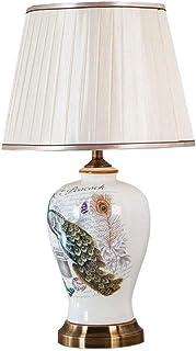 SMEJS Pequeño Moderna Tabla de cerámica lámpara de Tabla Lindo con la Botella de Tela Blanca Decoración Sombra lámpara de...