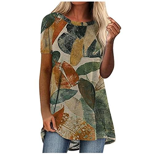 QIUTIANQ Señoras Sueltas Casual Cuello Redondo Manga Larga Impresa Camiseta De Mujer Moda De Verano Estampado Floral O-Cuello Pulóver Top Adecuado para Ocasiones Formales Casuales (Verde, S)