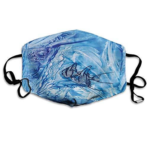 Usicapwear MundschutzWiederverwendbarerMundschutzimFreien,Small Fish in Creepy Snow Ice Crystal Labyrinth Aquatic Theme,NahtloseRänderAußenabdeckungen