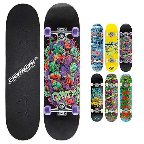 "Osprey Kids Skateboard, 31"" Double Kick Skateboard for Beginners with Maple Deck, for Boys & Girls, Multiple Designs"