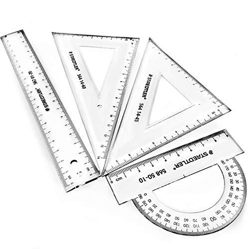 Geometrie-, Zeichendreieck (Büro, Schule) Geometrieset, Kunststoff, 14 cm, Trans