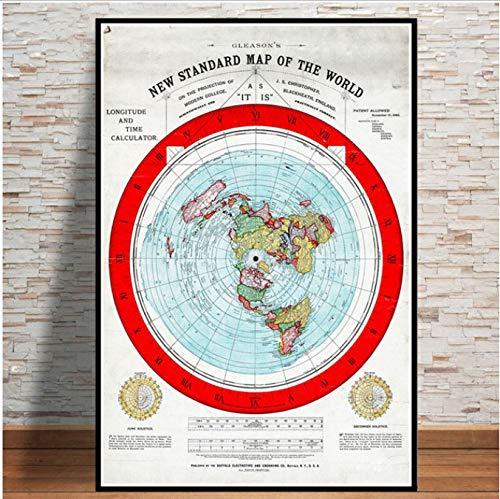 Carteles impresiones 1892 Plano Mapa Tierra Mapa película