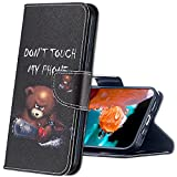 MRSTER Xiaomi Redmi 7A Hülle Leder, Langlebig Leichtes Klassisches Design Flip Wallet Hülle PU-Leder Schutzhülle Brieftasche Handyhülle für Xiaomi Redmi 7A. BF Bear
