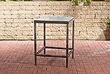 CLP Polyrattan Tisch Alia 5mm I Gartentisch Rundrattan I Bartisch Mit Glasplatte I Gartenmöbel, Farbe:braun-meliert