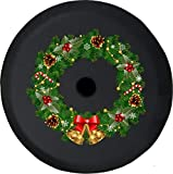 American Unlimited Christmas Wreath JL Spare Tire Cover with Backup Camera Black Size 33 Inch