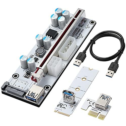 BEYIMEI PCIE Riser 1 x a 16x extensión gráfica para Bitcoin GPU Mining Powered Riser Adapter Card + M.2 a tarjeta PCI-E,3 Opciones de alimentación (6PIN/ SATA/4 Pin)