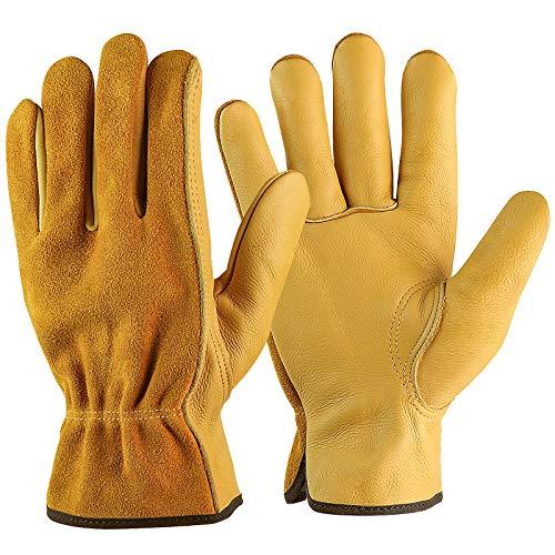 Rindsleder Arbeit Handschuhe Herren, Arbeitshandschuhe Damen, Montagehandschuhe Sicherheit Schutzhandschuhe für Gartenarbeit Fahrradtraining Schweißarbeit Maschinenmontage