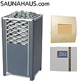 Saunaofen EOS Finnrock incl. Econ D2 Saunasteuergeraet EOS und exklusive Edelstahl-Saunakelle von ARTVION (12.0 kW)