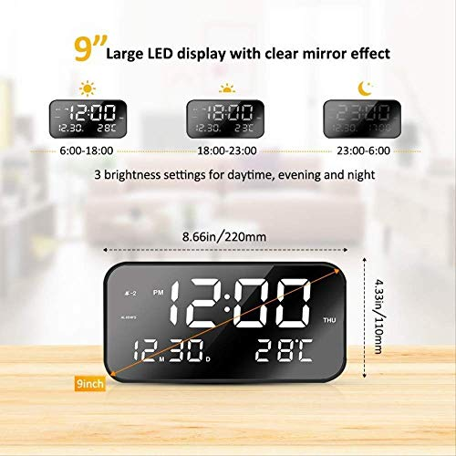 Linda Creatieve wekker, schattig, led-klok, groot display, prachtige digitale kalender, intelligente wekker, stil wit licht