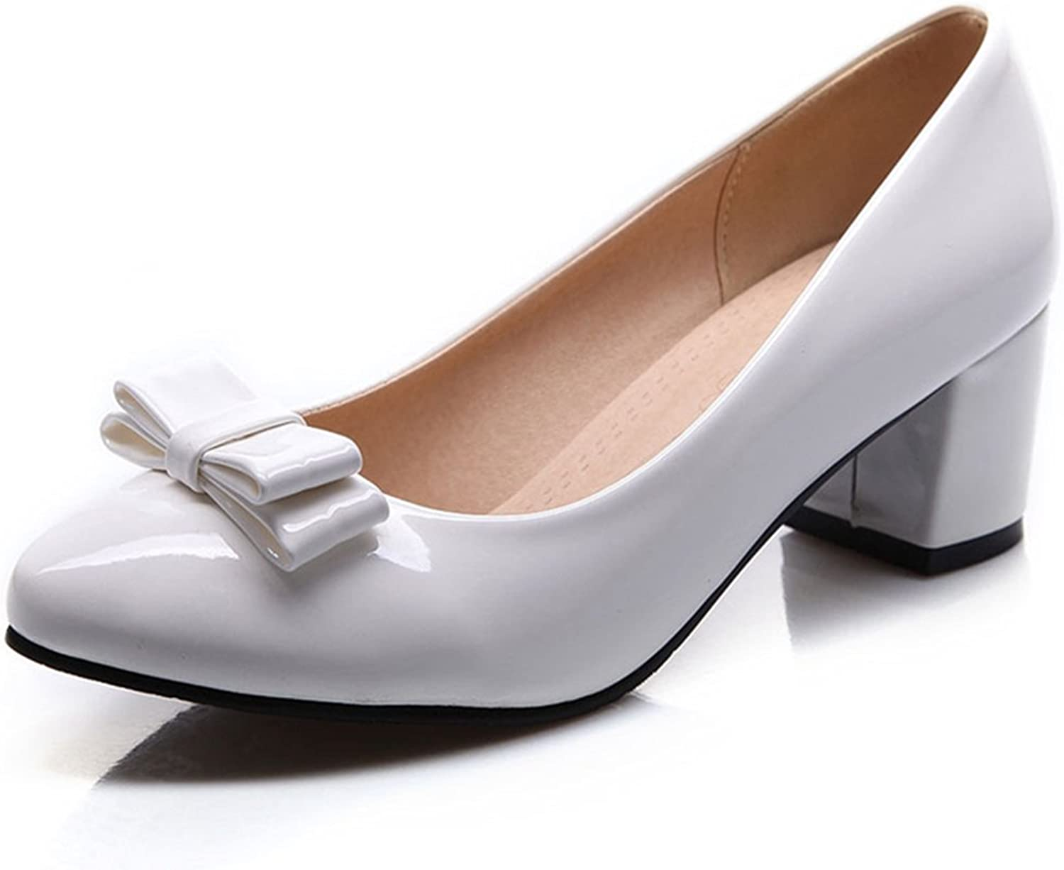 York Zhu Women Pumps, Sexy Bow-tie Slip-on Pointed Toe Square Heel Wedding shoes