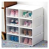 Zapatero de 8 piezas de plástico transparente caja de almacenamiento a prueba de polvo, superpuesta combinación de zapatos acabado de habitación (color blanco, tamaño: 8 piezas)